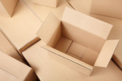 Cardboard boxes background Royalty Free Stock Photos