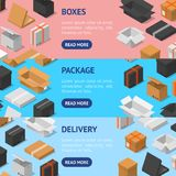 Cardboard Boxes Banner Horizontal Set Isometric View. Vector royalty free illustration