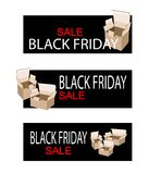 Cardboard Boxes on Black Friday Sale Banner Royalty Free Stock Photos