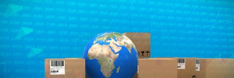 Composite image of cardboard boxes with blue globe. Cardboard boxes with blue globe against stocks and shares Royalty Free Stock Images