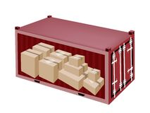 Cardboard Boxes in Cargo Container on White Backgr Stock Images