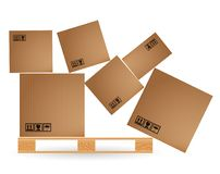 Cardboard boxes with cargo fallen and scattered on a wooden pallet. Euro pallets. Warehouse with goods. Stock Photo