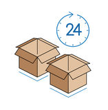 Cardboard boxes with clock  on white background Stock Photography