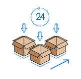 Cardboard boxes with clock  on white background Stock Image