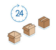 Cardboard boxes with clock  on white background Royalty Free Stock Photo