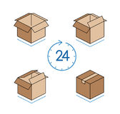 Cardboard boxes with clock  on white background Stock Photo