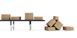 Cardboard boxes on conveyor belt Royalty Free Stock Photography