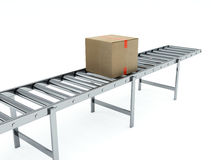 Cardboard boxes on conveyor belt Royalty Free Stock Photo
