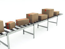 Cardboard boxes on conveyor belt Stock Images