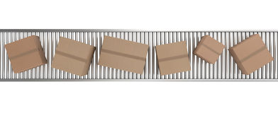 Cardboard boxes on conveyor belt Stock Photography