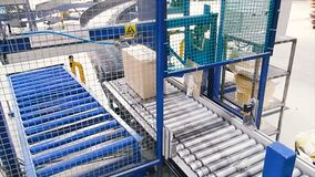 Cardboard boxes on conveyor belt in factory. Clip. Production line on which the boxes move in a spiral stock image