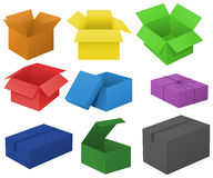 Cardboard boxes in different colors. Illustration Stock Photography