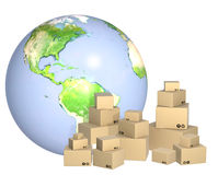 Cardboard boxes and Earth Stock Photos