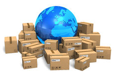 Cardboard boxes and Earth globe royalty free illustration