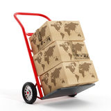 Cardboard boxes with earth shape on truck hand trolley. 3D illustration Stock Photos