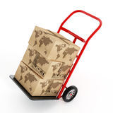 Cardboard boxes with earth shape on truck hand trolley. 3D illustration Stock Photo