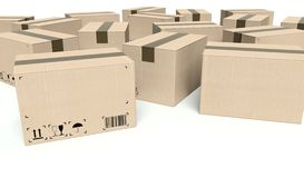 Cardboard boxes with empty text frame Stock Image