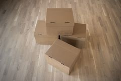 Cardboard boxes on the floor royalty free stock image