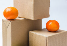 Cardboard boxes for goods and products Royalty Free Stock Image