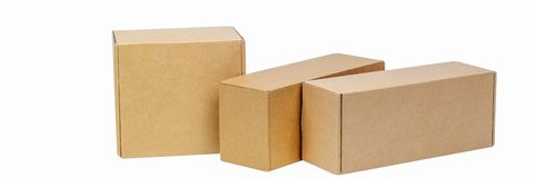 Cardboard boxes for goods on a white background. Different size. Isolated on white background stock photography
