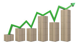 Cardboard boxes and green line like a chart Stock Images