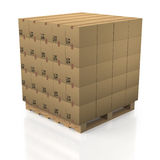 Cardboard Boxes In Tidy Stack With Wooden Palette Royalty Free Stock Photos