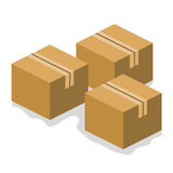 Cardboard boxes isolated illustration Royalty Free Stock Images