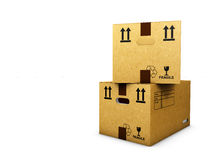 Cardboard boxes isolated over white background Stock Photos