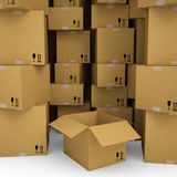Cardboard boxes. Isolated render on a white background Royalty Free Stock Photos
