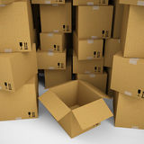 Cardboard boxes. Isolated render on a white background Stock Image