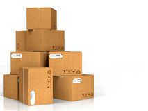 Cardboard Boxes Isolated on White. Royalty Free Stock Image