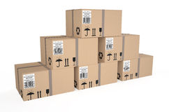 Cardboard boxes 4. Cardboard boxes isolated on white background Stock Photography