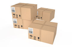 Cardboard boxes 7. Cardboard boxes isolated on white background Royalty Free Stock Image