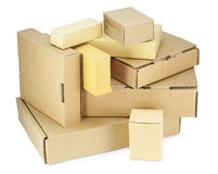 Cardboard boxes kit  isolated Royalty Free Stock Photo