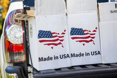 Cardboard Boxes With Made In America Emblem Royalty Free Stock Image