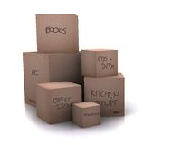 Cardboard boxes - moving homes Stock Photo