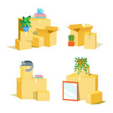 Cardboard Boxes for Moving Set. Vector Royalty Free Stock Image