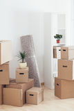 Cardboard Boxes in a New Apartment Stock Image