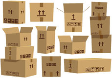 Cardboard boxes. Nine different views of some typical cardboard boxes, some open, some closed, and some stacked. E.P.S. 10 vector file included with image royalty free illustration