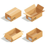 Cardboard boxes opened and closed. 3D isometric vector icons. Cardboard boxes opened and closed. 3D isometric vector icons for warehouse and transportation Royalty Free Stock Image
