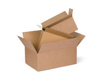 Cardboard boxes. Opened cardboard boxes Isolated on white background Royalty Free Stock Photo