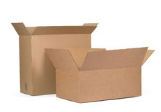 Cardboard boxes. Opened cardboard boxes Isolated on white background Royalty Free Stock Photos