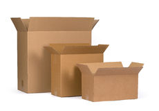 Cardboard boxes. Opened cardboard boxes Isolated on white background Royalty Free Stock Photography