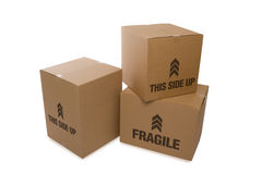 Cardboard Boxes Over a White Background Royalty Free Stock Photography