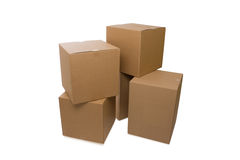 Cardboard Boxes Over a White Background Royalty Free Stock Images