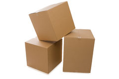 Cardboard Boxes Over a White Background Stock Photos