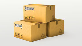 Cardboard boxes  over white background Stock Photography