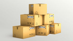 Cardboard boxes  over white background Stock Photo
