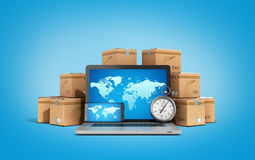 Cardboard boxes package parcels and laptop - Logistic, cargo, de Stock Images