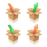 Cardboard boxes. Packing, unpacking. Vector illustration of cardboard boxes with arrows Royalty Free Stock Photo